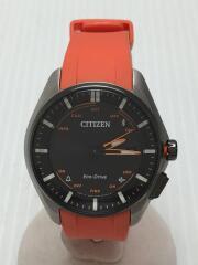 ソーラー腕時計/アナログ/ラバー/BLK/チタンケース/Bluetooth