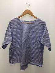 半袖カットソー/40/コットン/ブルー/ストライプ/襟汚れ有