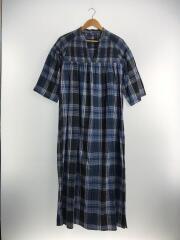 7分袖ワンピース/--/コットン/BLU/チェック/19-040-700-8053-1
