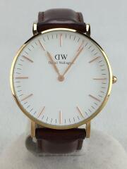 クォーツ腕時計/アナログ/レザー/WHT/BRW/ブラウン/B36RW42