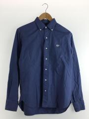 ワンポイント刺繍長袖BDシャツ/ボタンダウンシャツ/38/コットン/ブルー/MPS-150M