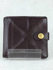 2つ折り財布/レザー/BRW/無地