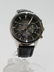 ソーラー腕時計/アナログ/フェイクレザー/BLK/BLK/VR42-KZC0