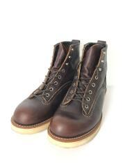 LINE MAN/ブーツ/27.5cm/ブラウン/レザー/2906/キズ有