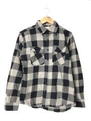 長袖シャツ/M/コットン/ブラック/チェック/6105053