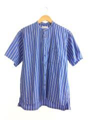 スタンドカラーストライプシャツ/半袖シャツ/XL/コットン/BLU/ストライプ/51-01-0178-012