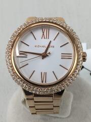 クォーツ腕時計/アナログ/WHT/GLD/MK-4460