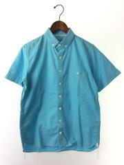 半袖シャツ/--/コットン/BLU/無地/半シャツ/ボタンダウンシャツ/1ポケット/