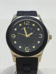 腕時計/アナログ/ラバー/GLD/BLK