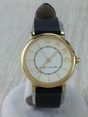 クォーツ腕時計/アナログ/レザー/WHT/BLK/PYPER/111810/レザー/