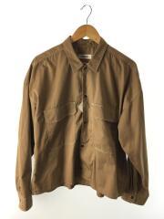 長袖シャツ/L/--/BEG/無地/白ステッチ/ダブルポケット/CPOシャツ/ワイドシルエット