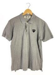 ポロシャツ/L/コットン/GRY/ハートロゴ/ワッペン/日本製/JAPAN MADE/AD2011/AZ-0