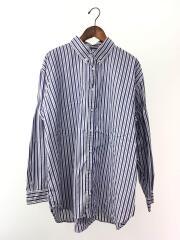 ビックシャツ/ウィリーキャバリエ/ボタンダウン/長袖シャツ/M/コットン/ブルー/ストライプ/