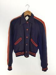 50s/ニックスカラー/スポーツジャケット/vintage/スタジャン/ウール/ネイビー/ヤケ、穴有り