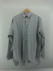 20ss/長袖シャツ/M/コットン/WHT/ストライプ/ワークシャツ/ビックシルエット/トップス