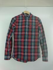 長袖シャツ/XS/コットン/BLU/チェック/インポート/デザイナーズ/カジュアル/胸ポケット