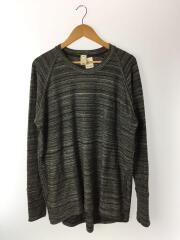 長袖Tシャツ/--/コットン/GRY/スウェット/2ポケット/オーバーサイズ/デザイナーズ