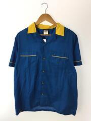 半袖シャツ/M/コットン/BLU/バックプリント/ボーリングシャツ/オープンカラー/レプリカ