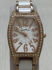 wl21/クォーツ腕時計/アナログ/ステンレス/WHT/三つ折り/ラグジュアリー/カジュアル