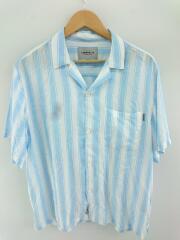半袖シャツ/L/レーヨン/BLU/ストライプ/オープンカラーシャツ/ブレストポケット/ESPER SHIRT
