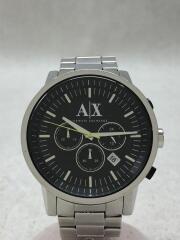 AX2063/クォーツ腕時計/アナログ/ステンレス/BLK/SLV/クロノグラフ/三つ折り/