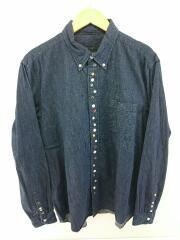 長袖シャツ/XL/コットン/IDG/無地/セレクト/カジュアル/フェイクボタン/胸ポケット