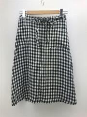アクアフィッツ/スカート/1/リネン/BLK/ギンガムCK/リネン100/巻きスカート