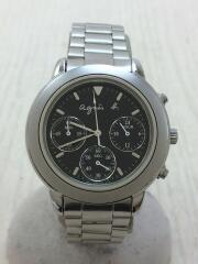 agnesb. アニエスベー/クォーツ腕時計/アナログ/ステンレス/ブラック/シルバー/V654-6100