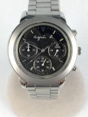 アニエスベー/クォーツ腕時計/アナログ/ステンレス/ブラック/シルバー/V654-6100