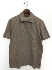 ポロシャツ/L/コットン/ブラウン/ボーダー/P369NCT/開襟/2002~2004年頃