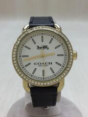 クォーツ腕時計/アナログ/レザー/クリーム/ブラック/フレームストーン/CA.105.7.95.1204S