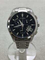 CITIZEN/ソーラー腕時計/アナログ/ステンレス/BLK/SLV/H610-T017100