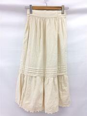 ネルエプロンギャザースカート/ロングスカート/Mサイズ相当/コットン/CRM/13-27-0366-803