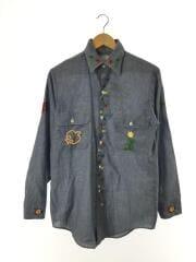 ビックマック/長袖シャツ/刺繍/古着/vintage/S/ポリエステル/BLU/青/ダブルポケッ
