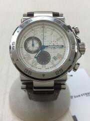 クォーツ腕時計/アナログ/レザー/SLV/BRW