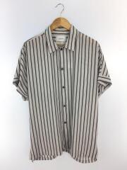 半袖シャツ/2/ポリエステル/WHT/ストライプ