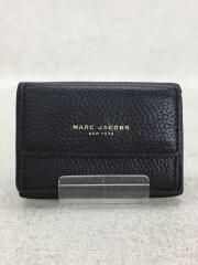 3つ折り財布/レザー/BLK/無地/レディース/ミニウォレット