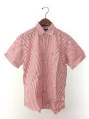 半袖シャツ/M/コットン/RED/ストライプ/BBW10-254-15
