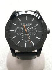 クォーツ腕時計/アナログ/レザー/BLK/黒
