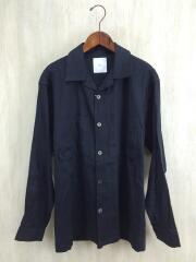 20SS/asaシャツ/オープンカラーシャツ/長袖シャツ/M/リネン/ネイビー/タグ付