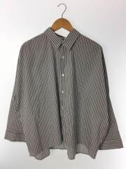 長袖シャツ/S/コットン/ブルー/ストライプ/ビッグサイズ/中古/古着