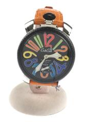 手巻腕時計/アナログ/ステンレス/BLK/ORN/CARICA MANUALE/ベルト使用感あり