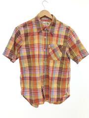 半袖ボタンチェックシャツ/M/コットン/チェック/AT30703