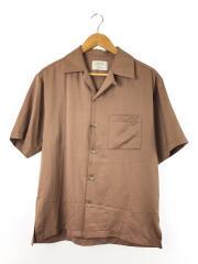 オープンカラー半袖シャツ/1/ポリエステル/BRW/無地/107103001
