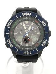 クォーツ腕時計/アナログ/ラバー/BLK/CITIZEN/PROMASTER/JR4065-09E