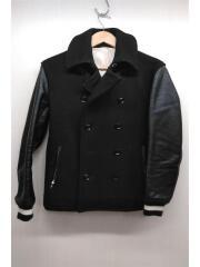 袖切替ホースレザーピーコート/2/ウール/ブラック/レザー/0050030014/カジュアル