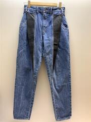 Carrot pants with leather yokes/タグ付/テーパートボトム/28/デニム/IDG