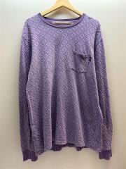 長袖Tシャツ/XL/穴あき有/コットン/PUP/総柄/ステューシー