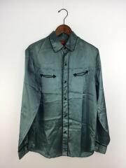 16AW/Satin Western Shirt/M/レーヨン/BLU