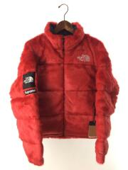 20AW/Faux Fur Nuptse Jacket/タグ付/未使用品/ダウンジャケット/M/RED
